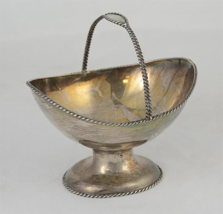 Henderson and Gaines, New Orleans coin silver sugar basket, no engraving, nice condition, no dents or repairs, 6