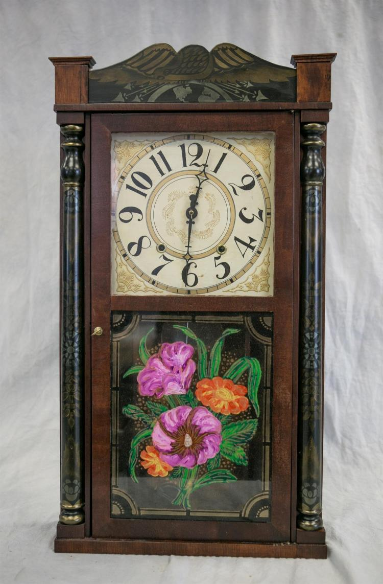 Henry C Smith, Plymouth, CT stenciled mahogany column shelf clock, 30 hr wood works, stenciled crest board(restored) and columns, go...