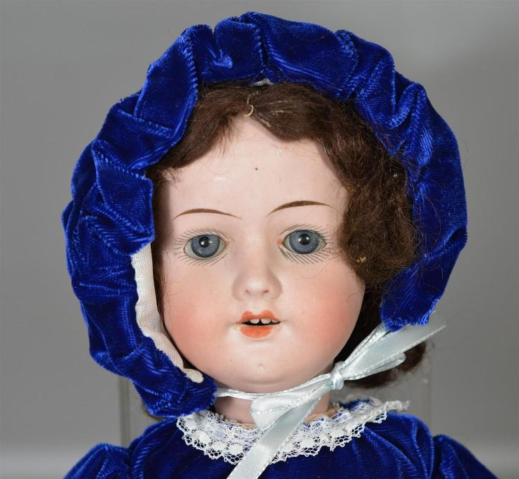 Herman Steiner German bisque head doll sleep eyes, open mouth with teeth, original mohair wig, on ball & joint composition body, 17