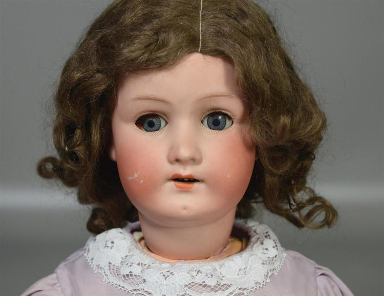 Heubach-Koppelsdorf 250 bisque head doll, sleep eyes, open mouth with teeth, original mohair wig & pate, on ball & joint composition...