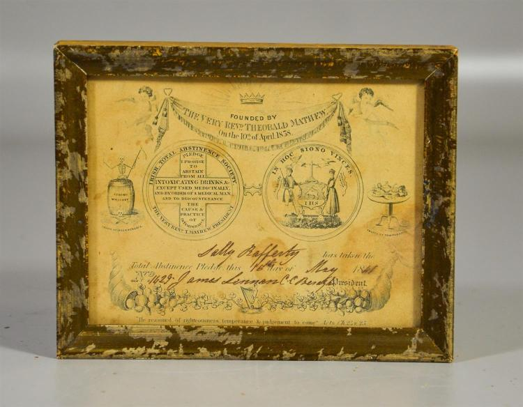 Irish Total Abstinence Society framed certificate, signed Sally Rafferty, May 16, 1841, overall 5 1/4