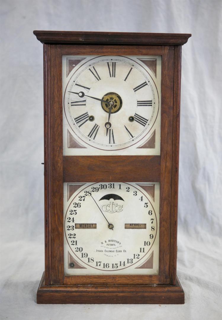 Ithaca Calendar Clock Co double dial Farmers No 10 calendar clock, HB Horton''s Patent, 21 1/4