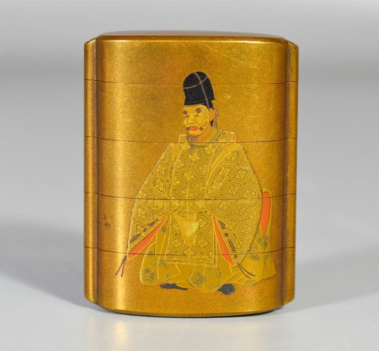 Japanese Lacquer Inro, the front lacquered with a Noh actor, the back with pine trees, signature to base, 3-1/2