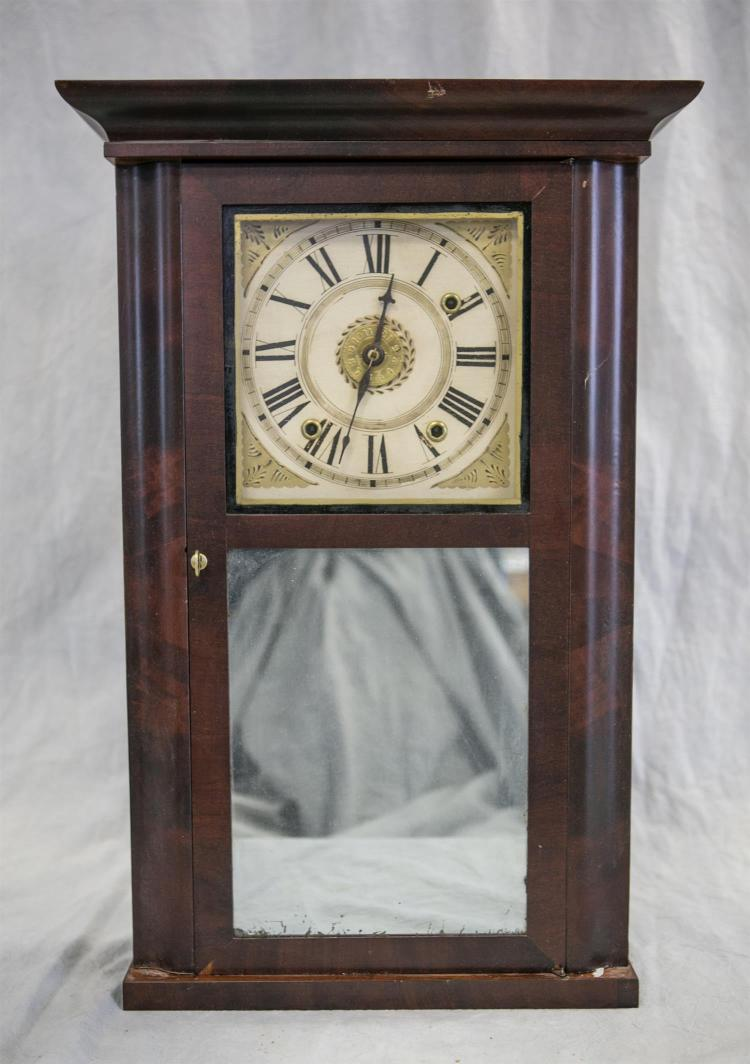 Johathan Frost, Reading, MA mahogany shelf clock, 1842, lower mirrored tablet, excellent original finish, paper label, and dial, hou...
