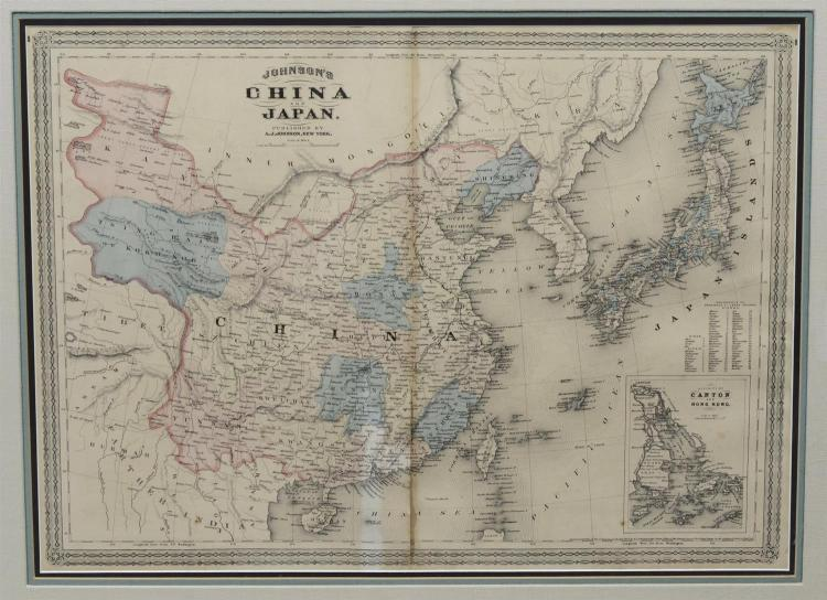 Johnson''s China and Japan, New York, 1868, from Johnson''s New Illustrated Family Atlas Of The World, with color, inset view of Canto.