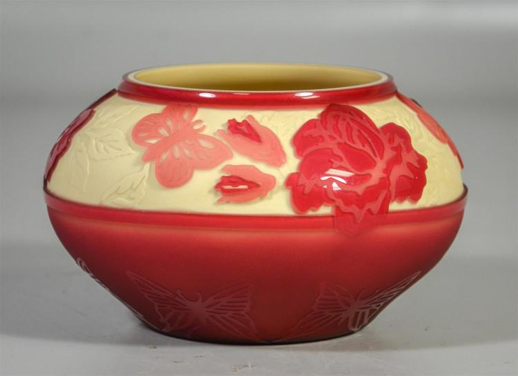 Kelsey Murphy / Pilgrim acid cut bowl, cranberry butterflies and flowers on ivory background, signed and dated 1999, 7