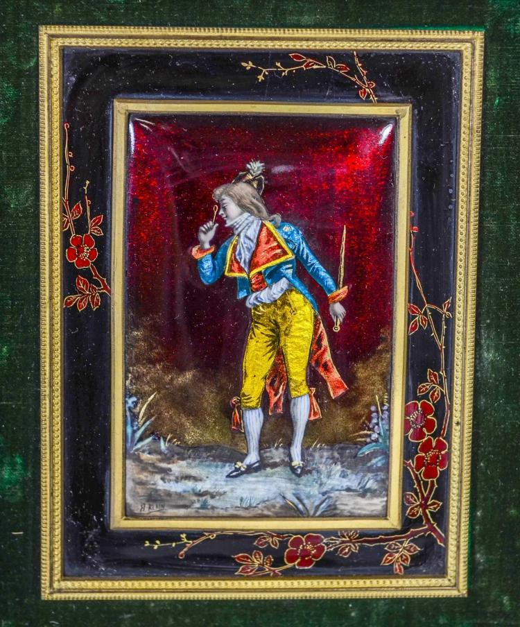Limoges enamel plaque of a young man signed H Klain, in a giltwood frame, minor losses to edges of frame; plaque 5 3/4