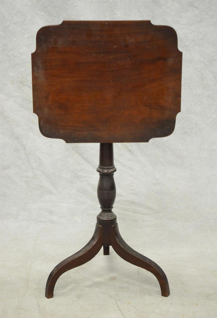 Mahogany Federal spider leg tilt top candle stand, rect top with shaped corners, 20 1/4
