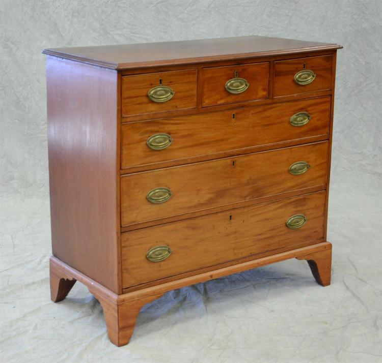 Mahogany Georgian 3 over 4 bureau, bracket feet, c 1800, 41 1/2