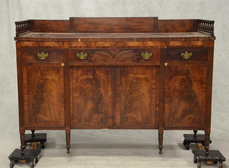 Mahogany Philadelphia Sheraton sideboard with backsplash and spindled gallery returns, missing bottom boards, a few pieces of missin...