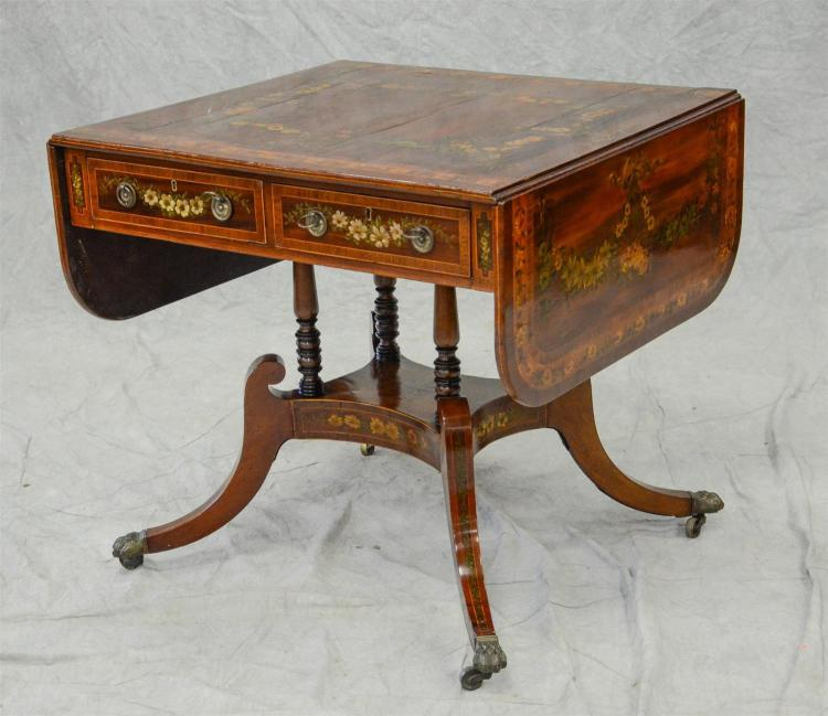 Mahogany, Rosewood, and satinwood inlaid Regency center table with drop leaves, 2 drawers, base with 4 turned columns to a mid level...