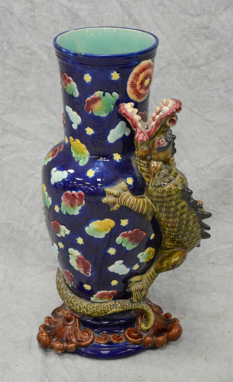 Majolica dragon pursuing pearl floor vase, probably English, cobalt ground with turquoise interior, 27 3/4