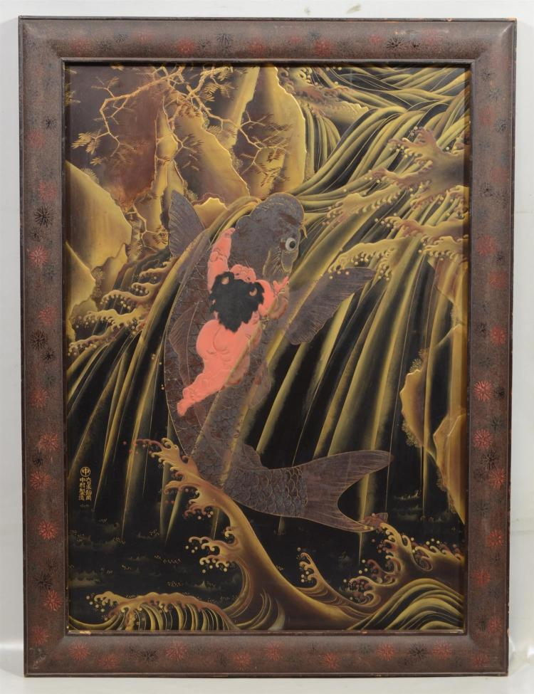 Massive Japanese Lacquer plaque, depicting Kintaro riding the golden carp, signature to lower left corner, overall 33