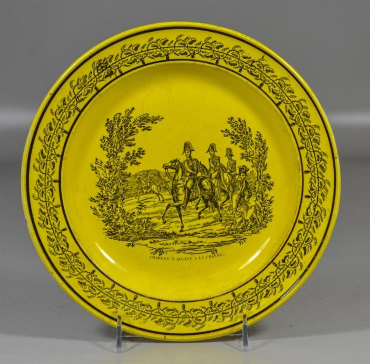 Montereau yellow creil plate with some scratches