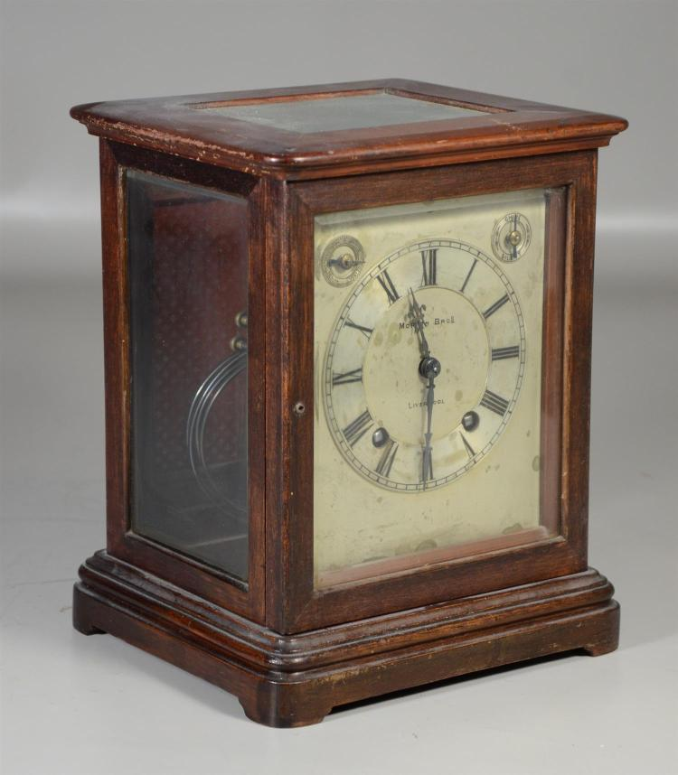Morath Bros, Liverpool mahogany 8 day shelf  clock, striking on hour and half hour, k&p, 10 1/4