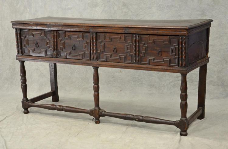 Oak Jacobean dresser base, 2 drawers with paneled carved drawers over a turned strretcher base, 73