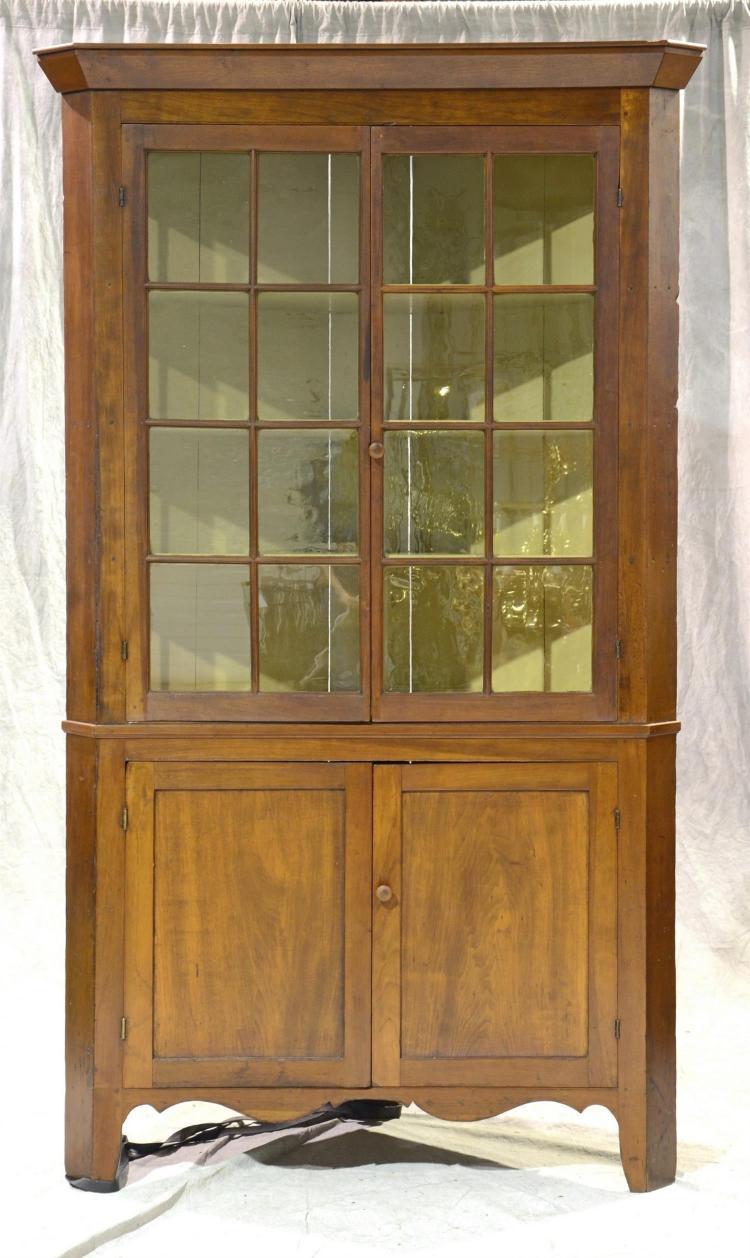 One Piece Corner Cupboard with double glazed glass doors, 16 panes over 2 doors, overall height 86