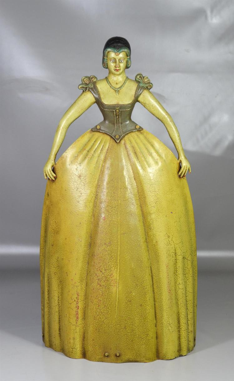 Painted cast steel Victorian lady in gown fire screen, 30
