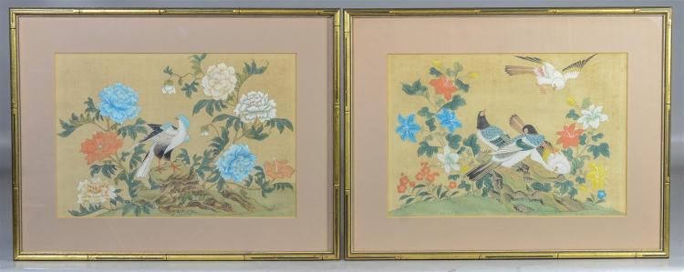 Pair of Chinese painted silk panels each with exotic birds, sight size 9 3/4