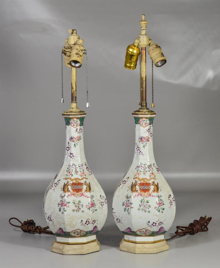 Pair of Samson French armorial vases mounted as lamps, vases are approx 13 1/4