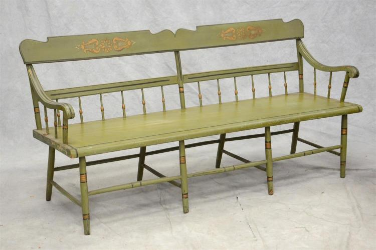 Plank seat bench with half spindle back, green and gilt painted decoration, 70