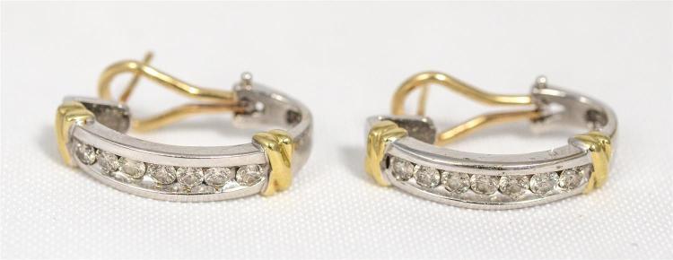 Pr 14K WG diamond earrings, each set with 7 round brilliant diamonds about 5 pts each, about 70 pts tdw, 4.7 dwt