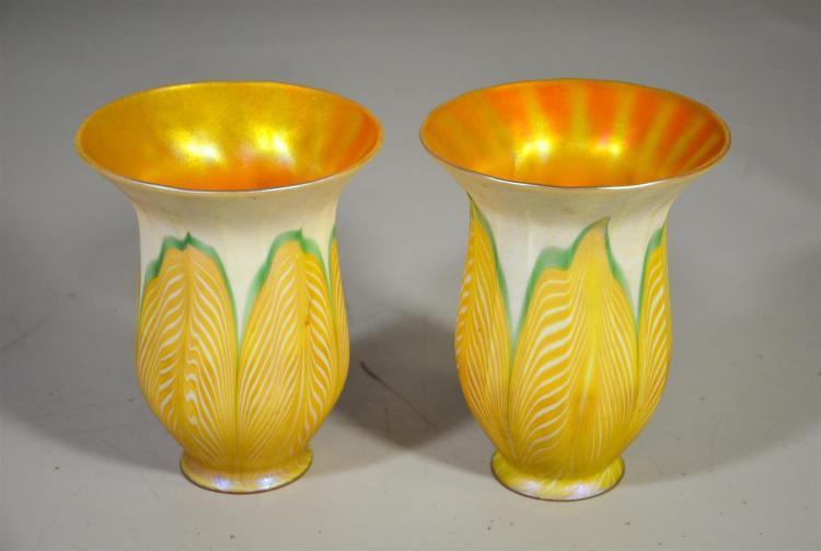 Pr Lustre Art pulled feather gold aurene shades, 2 1/4