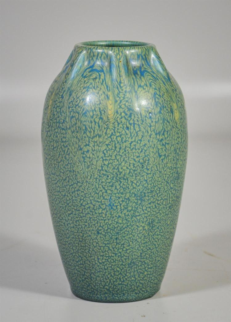 Rookwood green matte drip glazed production vase, date touch for 1920, form 2407, 7