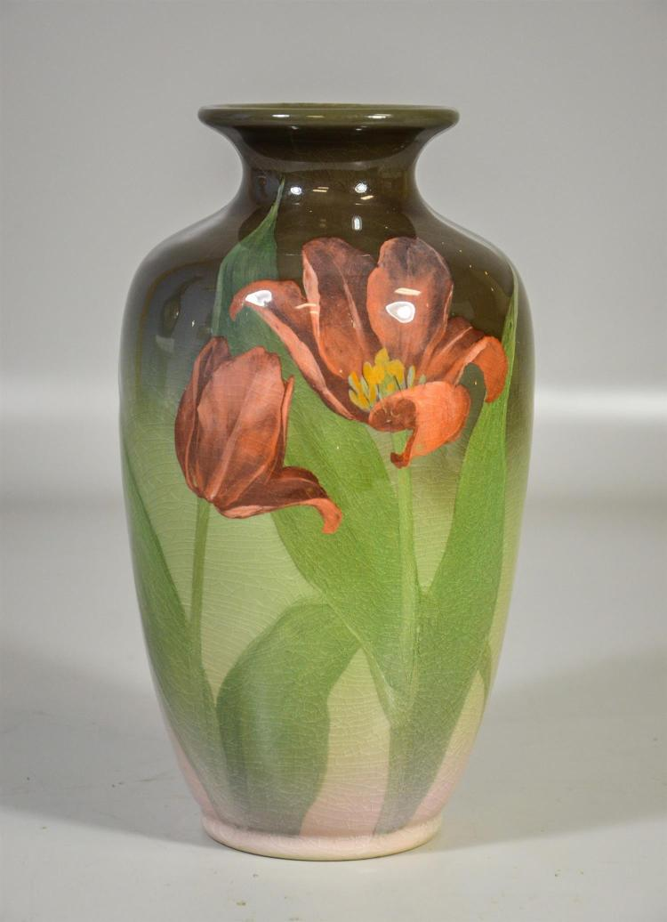 Rookwood standard glaze vase, pale amethyst tulips on shaded green background, form 903B, artist cypher to base, OCB, date marks for...