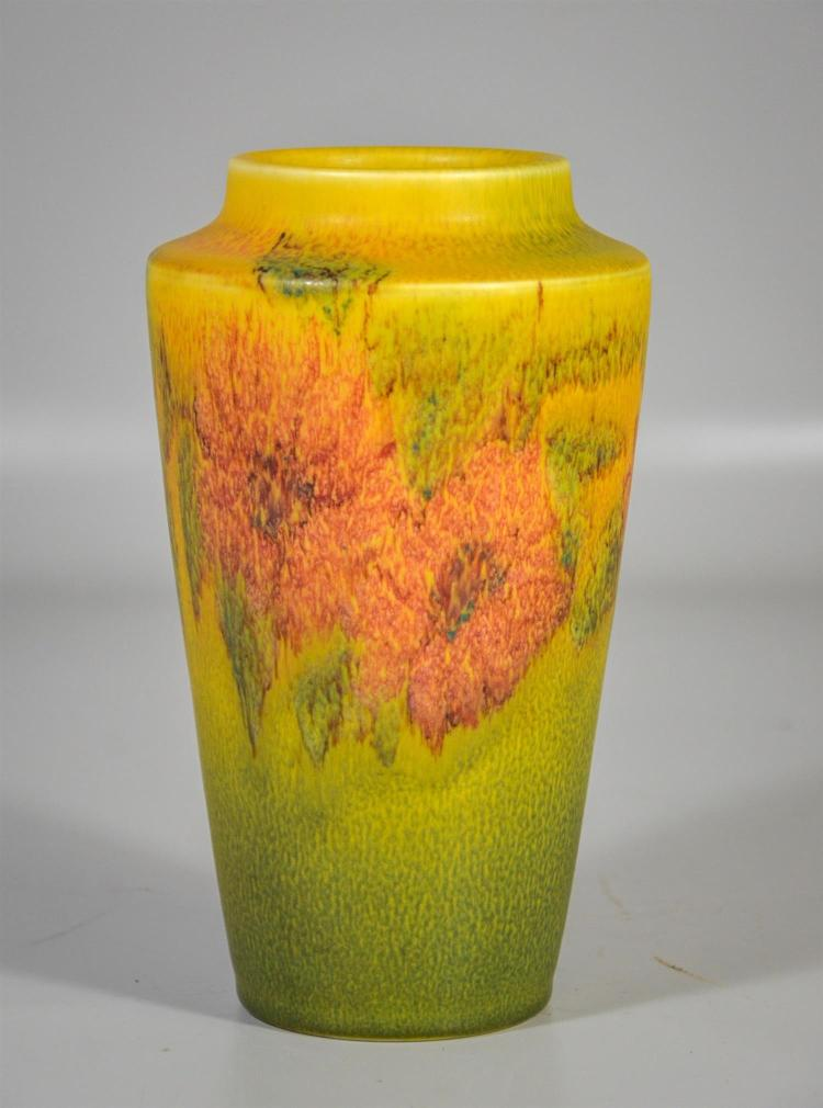 Rookwood vellum glaze vase, pale reddish flowers on gold-green background, artist cypher to base, date marks for 1925, 8 1/2