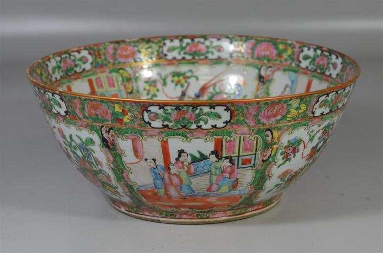 Rose Medallion punch bowl, 14 1/2