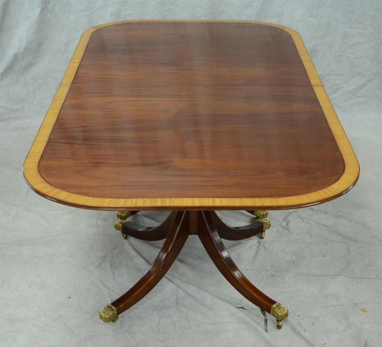 Satinwood banded mahogany double pedestal Regency style DR table, 90