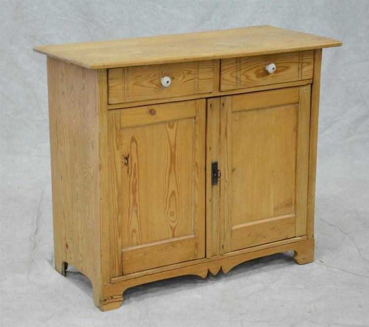 Scrubbed pine server with drawer over 2 doors, 35 1/2