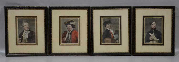 Set (4) Manner of George Baxter prints, Lunnon Forever, 3 other dandies, each 4 1/2