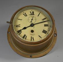 Smith Empire round brass ships clock, 6