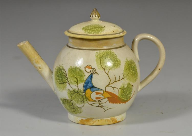 Soft paste pea fowl child size teapot with old restoration, 4 3/4