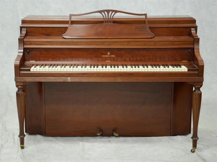 Steinway Model 100 upright paino, mahogany case, SN 362869, built c 1959, a single owner piano maintained and tuned throughout it''s ..