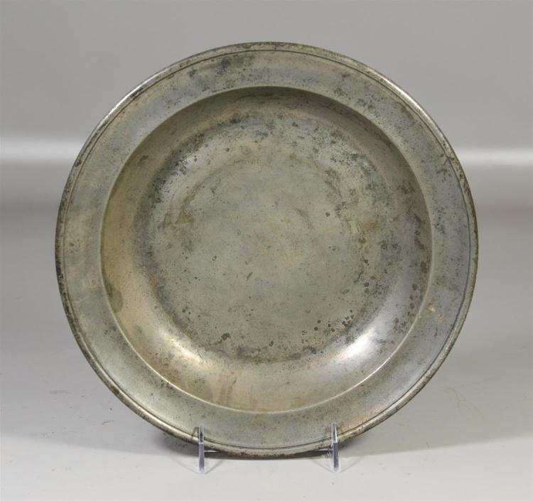 Thomas Danforth, Philadelphia pewter basin, c 1800, 11 1/2