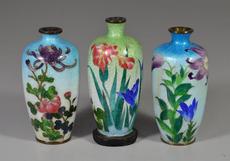 Three (3) Japanese Ginbari cloisonne vases all with flowers, tallest 5