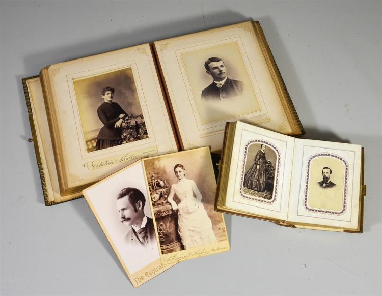 Two (2) albums of albumen prints of men, women and children, largest 9