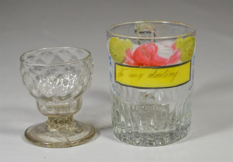 Two (2) early pieces of glass, one possibly Stiegel with broken foot, together with an enameled glass mug