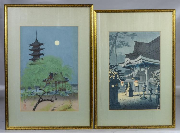 Two (2) Japanese woodblock prints, one signed by Tokuriki, the other with signature to lower left corner, largest sight size 15 1/4