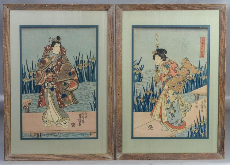 Two (2) Japanese woodblock prints, Toyokuni, sight 14 1/8