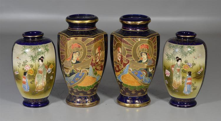 Two (2) pairs of Japanese Satsuma vases, both with cobalt blue decoration and marks to base, tallest 8 1/2