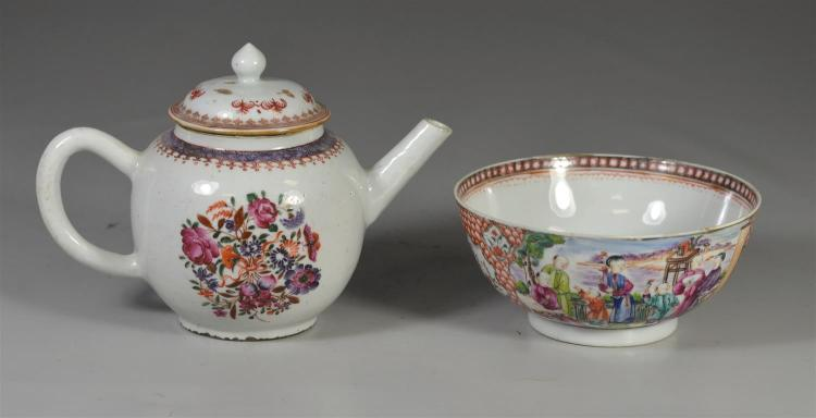 Two (2) pieces of Chinese export 18th century porcelain, a Mandarin palette bowl with two (2) hairlines, a Famille Rose floral decor...