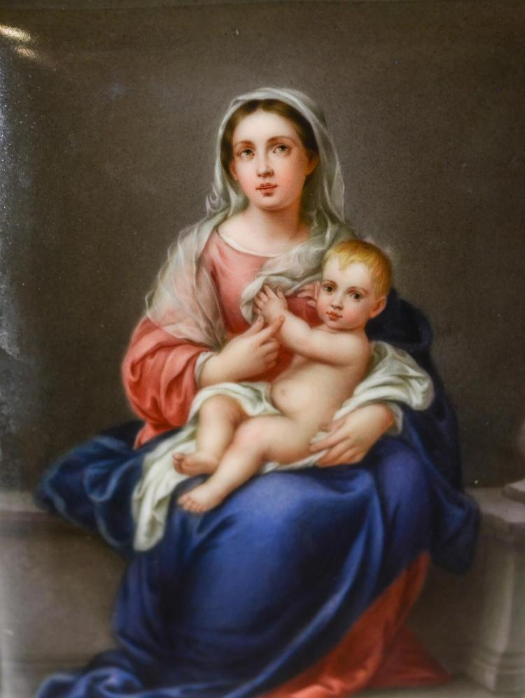 Unframed painted porcelain tile of the Virgin and Child, indistinctly signed lower right corner, 6 1/4