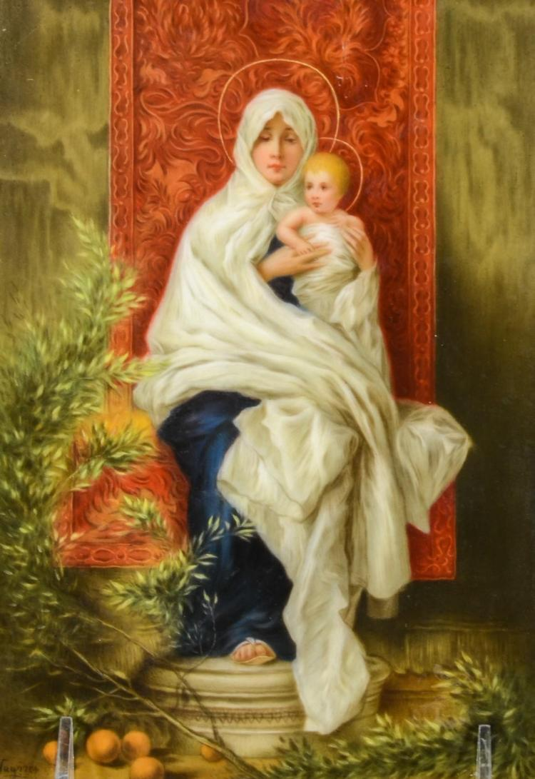 Unframed painted porcelain tile of the Virgin and Child, signed Wagner, 7