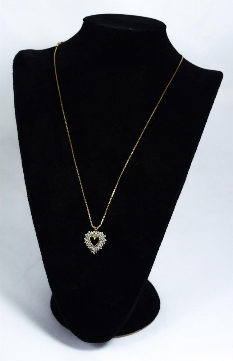 Unmarked YG heart diamond pendant, about 60 round diamonds, 2-3 pts each, on 14K YG Italy chain, 6.1 dwt