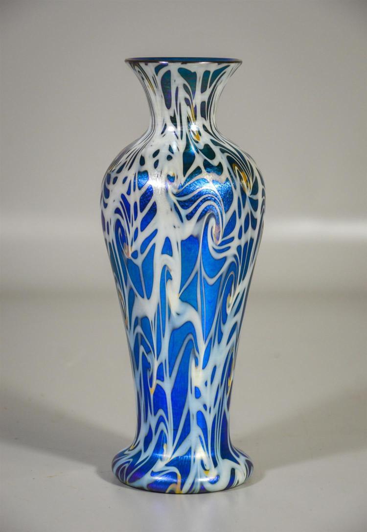 Unsigned Durand Coil pattern blue aurene vase, shape 1707, 9 1/4
