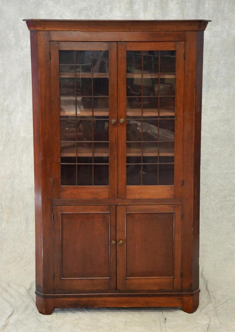 Walnut 1 pc Federal corner cupboard, top doors with later mullion overlays, 80